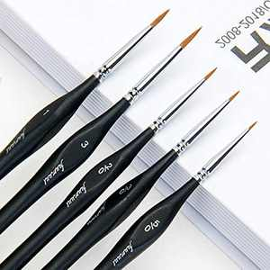 Kolinsky Sable Detail Brushes, Fuumuui 5pcs Fine Tip Miniature Sable Paint Brushes with Ergonomic Triangular Birch Handle Perfect for Watercolor Acrylic Gouache Ink Painting