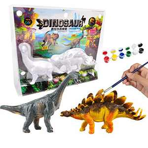AINOLWAY 3D Painting Dinosaurs for Kids DIY Graffiti Toys - Decorate Your Own 2 Solid-Resin Dinosaur Arts Crafts