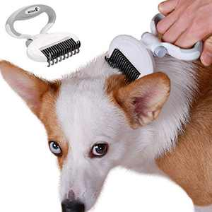 PETDURO Dog Brush for Shedding Grooming, Adjustable Undercoat Rake for Dogs Long Hair Dematting Tool Dog Accessories Stuff