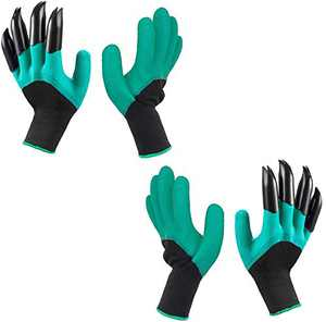 Garden Claws Gloves, Waterproof and Breathable Garden Gloves for Digging Planting, Best Gardening Gifts for Women and Men (Green 2 Pairs)