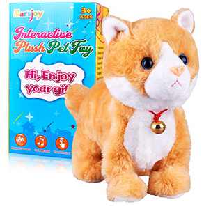 Yellow Robot Cat Plush Cat Stuffed Animal Interactive Cat Meow Kitten Touch Control, Electronic Cat Pet, Robotic Cat Cat Kitty Toy, Animated Toy Cats for Girls Baby Kids L:12""