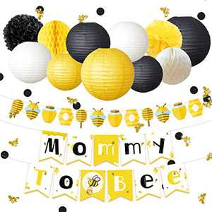 NICROLANDEE Honey Bee Party Decorations - Yellow Black Mommy to Bee Card Banner Garland Paper Lanterns Honeycomb Ball 50G Glitter Bumble Bee Confetti for Bumblebee Themed Party, Birthday, Baby Shower