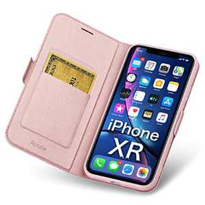 Aunote iPhone XR Cases Wallet, iPhone XR Cases with Card Holder, Ultra Slim Flip Folio PU Leather iPhone XR Phone Case, Full Protective Cover XR iPhone Case for Apple 2018 6.1 inch Phone Rose Gold