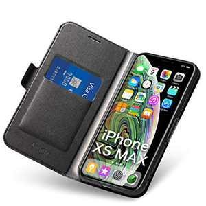 Aunote iPhone Xs Max Case, iPhone Xs Max Phone Cases, Slim Flip/Folio Phone Cover – Wallet Style: Made of PU Leather Shell (Lightweight, Feels Good) TPU Inner - Full Protection Apple Xmax. Black