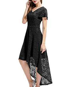 Bbonlinedress Vintage Women's Floral Lace Hi-Lo Formal Evening Dress Cocktail Party Dress Black S