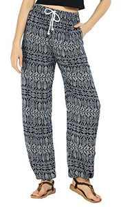 EXCHIC Women's Floral Printed Boho Pants Yoga Harem Pants Beach Pants (M, 2)