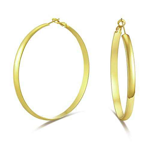 WOWSHOW Large Gold Hoop Earrings Wide Flat Hoop Earrings Thick Hoops for Women 60mm