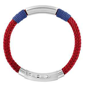 QLEESI Braided Nautical Rope Bracelets for Men Women, Handmade Stylish Infinity Knotted Woven Nylon String Warp Bracelet Jewelry Cuff with Stainless Steel Clasp, Gifts for Girls Kids (Red 2)