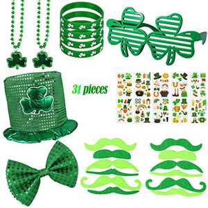 31 Pack St. Patrick's Day Accessories St Patrick's Shamrock Necklace Mustaches Rubber Bracelets Customized Clover Glasses and Temporary Tattoos for Saint Patrick's Party Favors