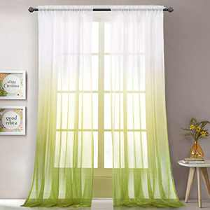 """LoyoLady Green Sheer Curtains 102 Inches Long 2 Panels Rod Pocket Ombre Curtains for Bedroom 52"""" W x 102"""" L"""