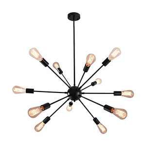 KOSTOMO 12Lights Sputnik Chandelier Black Ceiling Lighting Metal Retro Industrial Vintage Pendant Lighting Living Room Dining Room Bed Room Kitchen Room Lighting (12 Lights-Black)