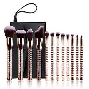 Brush Master Makeup Brushes Set 12 Pcs, Professional Face Powder Blush Eyeshadow Kabuki Brush Kit, Foundation Contour Concealer Lip Makeup Brush Set with Case