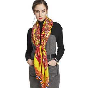 DANA XU 60% Wool 40% Silk Fashion Scarf Shawl Wraps For Women Autumn Winter (Yellow02)