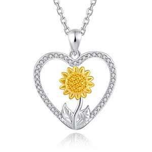 925 Sterling Silver Sunflower Necklace I Love You Forever Necklaces Jewelry Gifts for Girlfriend Wife Mom Women Girls Her