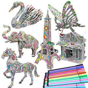 DDMY 3D Coloring Puzzle Set,6 Different Animals Building Puzzles with 24 Pen Markers, Art Coloring Painting 3D Puzzle for Kids Age 7 8 9 10 11 12. Fun Creative DIY Toys Gift for Girls and Boy (6PACK)