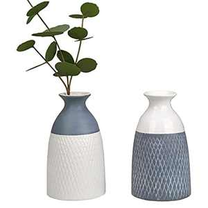 TERESA'S COLLECTIONS Grey White Rustic Ceramic Vase Set of 2, Decorative Glazed Vases for Home Decor, Farmhouse Vase for Living Room, Bedroom and Mantel, 20cm Tall
