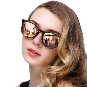 KANASTAL Chic Polarized Sunglasses for Women Men, Round Trendy UV Blocking Basic Shade (Leopard Frame Pink Lens)