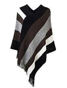 Deerludie & T Women's Elegant Knit Sweater Tassel Poncho Stripe Cape Shawl with Fringe Black White