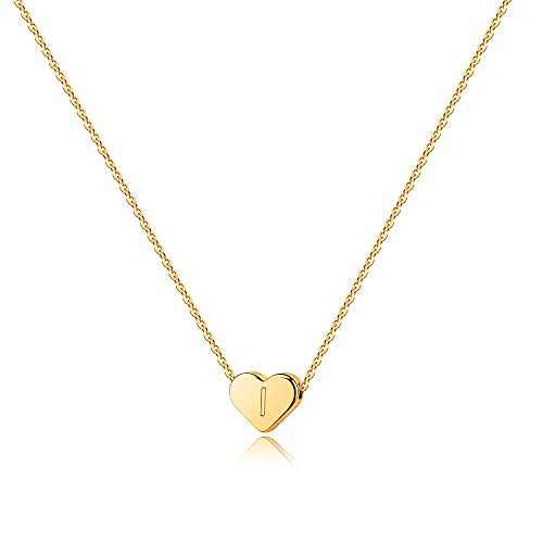 Turandoss Initial I Necklace for Teen Girls - 14K Gold Filled Heart Initial Necklaces for Women, Tiny Initial Necklace for Girls Kids Child, Heart Letter Initial Necklace for Teens Girls Women