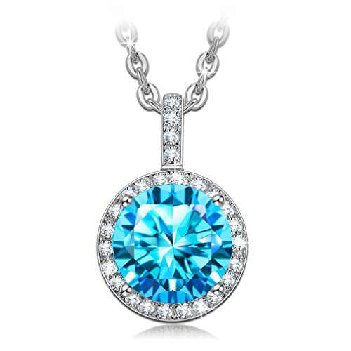 NINASUN Mother's Day Gifts Present for Her Women 925 Sterling Silver Pendant Necklace Blue Jewelry for Women Birthday Gifts for Girlfriend Daughter Wife