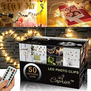 Caprier Luxury Teen Girl Room Decor, Photo Clips String Light, 50 LED Clips, Teen Room Decor, Dimmable 8 Modes Timer, USB Battery Powered, Dorms Decoration