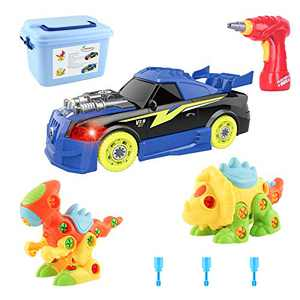 MEIGO Take Apart Toys - STEM Learning Dinosaurs Racing Car Playset w/ Electric Drill Construction Engineering Building Tool Set Gift for Kids 3 4 5 6 Year Old Boys Girls