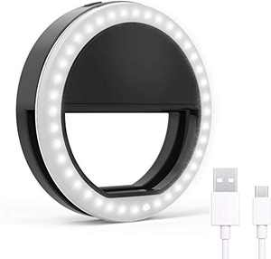 Selfie Ring Light, Rechargeable Clip on Selfie Fill Light with 36 LED Light, 3-Level Adjustable Brightness Compatible for iPhone, iPad, Android, Tablet, Laptop, Camera Video (Black)