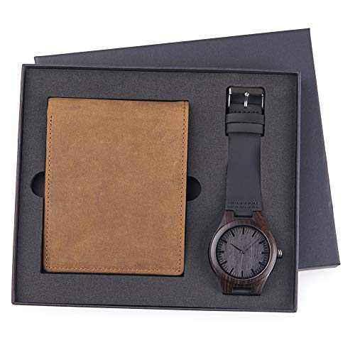 Mens Engraved Watch Wallet Family Watch Personalized Watches Special Birthday Anniversary Wallet for Husband Son Boyfriend Dad with Wood Box (B)