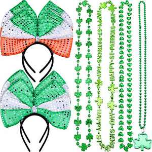 Chuangdi 8 Pieces St Patrick's Day Headband Irish Bow Tie Headband and Shamrock Bead Necklaces for St Patrick's Day Accessory