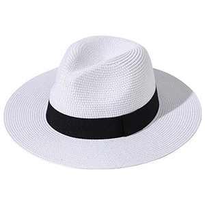 Lanzom Women Wide Brim Straw Panama Roll up Hat Fedora Beach Sun Hat UPF50+ (A-White)