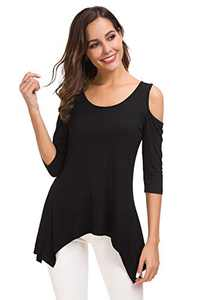 SITELUOYG Womens Cold Shoulder Tunic Tops Short Sleeve Crew Neck Cotton Casual T Shirt Swing Blouse Black