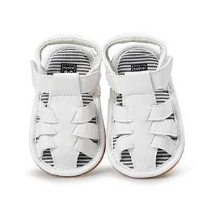 Baby Boys Girls Sandals PU Leather Rubber Sole Non-Slip Toddler Summer Shoes (White, 6_months)