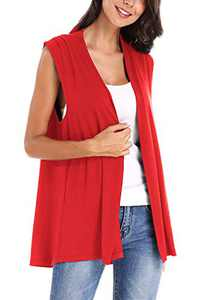 Women's Sleeveless Open Front Cardigan Vest Coat (L, Red)