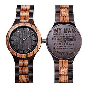Engraved Back Wooden Watches for Mens Husband Boyfriend Groomsmen Personalized Wooden Watch Unique Gift Chioce for Your Special Person