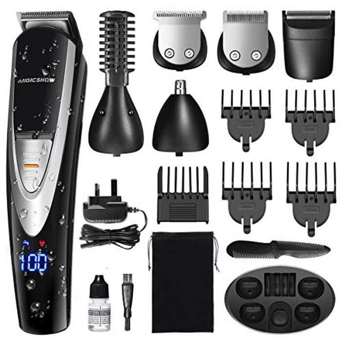 MIGICSHOW Professional Hair Clipper Cordless Trimmer Waterproof 12 in 1 Hair Cutting Kit for Men Kids Family,Beard Shaver Detail Trimmer LED Display Grooming Set with Storage Bag & Charge Base