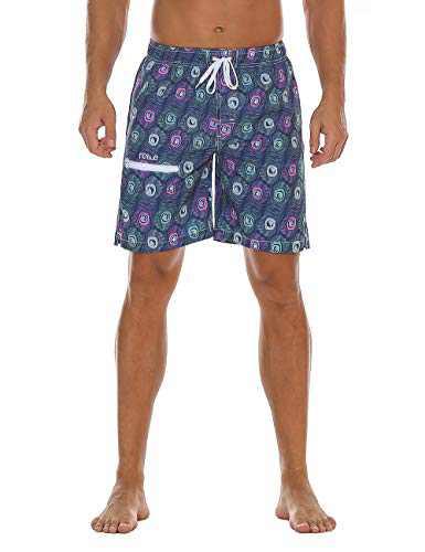 Nonwe Men's Swimming Trunks Beachwear Quick Dry Printed Zipper Pocket Drawsting Green 32