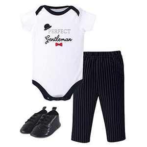 Little Treasure Baby Cotton Bodysuit, Pant and Shoe Set, Gentleman, 0-3 Months