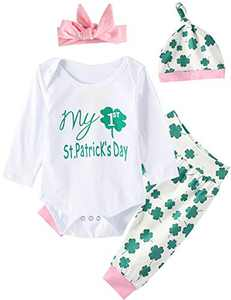 My First St. Patrick's Day Baby Girls Outfit Set Clover Romper (Green, 12-18 Months)