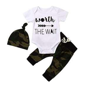 Newborn Camou Outfits for Baby Boys Letter Print Romper+Camouflage Pants +Hat Bodysuit Summer Clothes Sets (9-12months)
