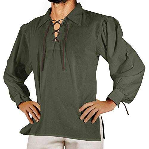 Makkrom Mens Medieval Pirate Costumes Lace Up Long Sleeve Sleeveless Viking Mercenary Renaissance Scottish Cosplay Shirts