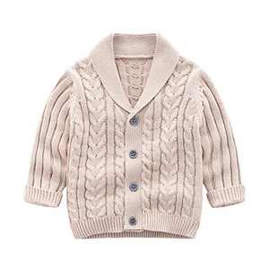 Feidoog Infant Baby Boys Cardigan Crochet Sweater V-Neck,Toddler Knit Button up Knitted Pattern Pullover Sweatshirt, Khaki,12-18 M