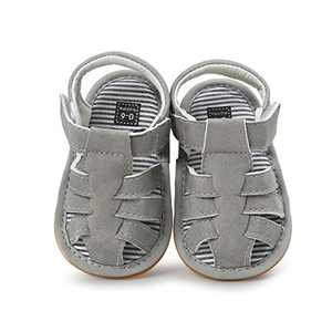 Baby Boys Girls Sandals PU Leather Rubber Sole Non-Slip Toddler Summer Shoes (Grey, 12_months)