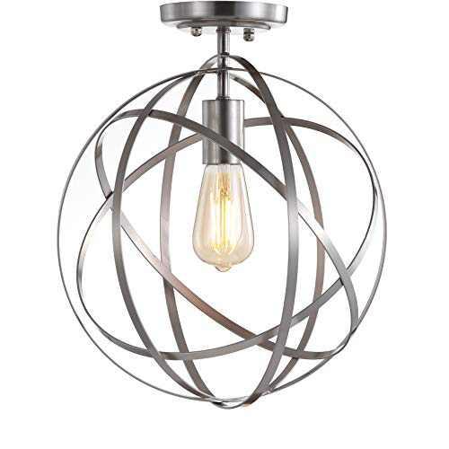 "JONATHAN Y JYL9514B Alma 13"" Metal LED Flush Mount Contemporary Dimmable, 2700K Cozy Warm Light, for Kitchen,Hallway,Bathroom,Stairwell, Nickel"