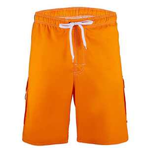 Meegsking Men Quick Dry Swim Trunks Solid Color Beach Board Shorts with Mesh Lining Orange
