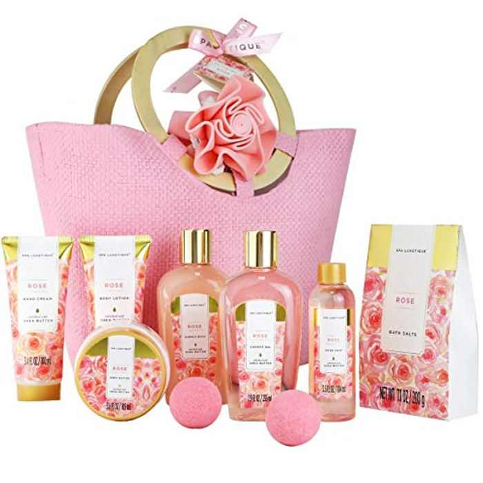 Gift Set for Women - Spa Luxetique Spa Gift Set, 10pcs Rose Bath Set, Luxury Shower Set with Bubble Bath, Body Lotion, Hand Cream, Pamper Sets for Women Gifts, Gift Sets for Women, Gift for Her