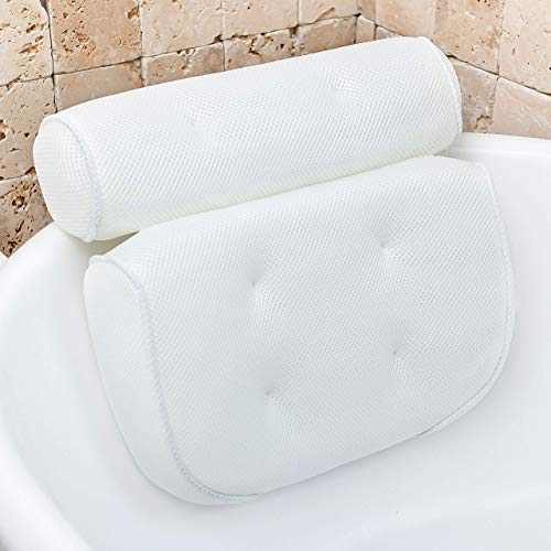 Bathtub Pillow for Neck and Shoulder: Spa Bathroom Accessories Bath Pillow for Bathtub with 6 Suction Cups. Luxury Headrest Bath Cushion for Tub. Self-Care Gifts for Women, Relaxing Bath Gift Set
