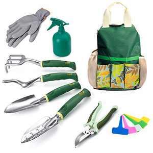 Delxo Gardening Tools Set,9 Piece Garden Tool Kit Garden Tools Set with Storage Bag,Shovels for Digging,Weeder, Rake, Trowel, Sprayer,Plant Labels,Gloves Gardening Tools for Women