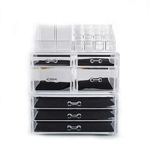 Lovinland Makeup Organizer Set 4 Small Drawer and 3 Large Drawer Plastic Cosmetic Jewelry Display Storage Rack Transparent