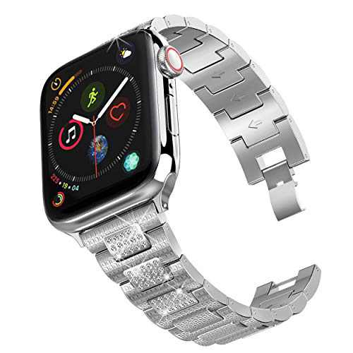 hooroor Bling Bands Compatible Apple Watch Band 38mm 40mm/42mm 44mm iWatch Series 6 SE 5 4 3 2 1 for Women Men, Diamond Rhinestone Bracelet Stainless Steel Metal Replacement Wristband Strap, Silver
