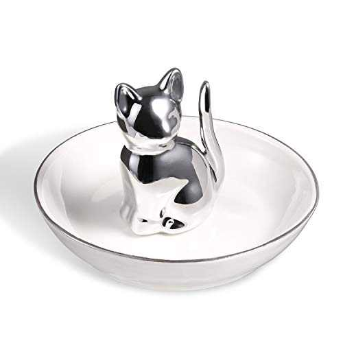 Lucky Cat Ring Holder Cute Kitty Jewelry Tray Ring Dish Trinket Tray Ceramic Jewelry Dish for Women Porcelain Home Decor (Silver/White)